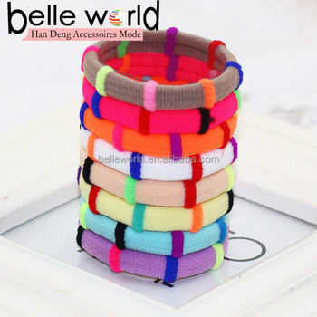 Candy color Thick Seamless Cotton Hair Bands No Damage Ponytail Holders 0b4cbe4a933