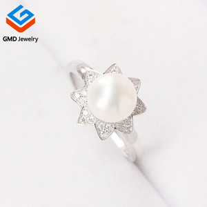 China product beauty promotion gift 925 sterling silver rhodium plated jewelry pearls rings
