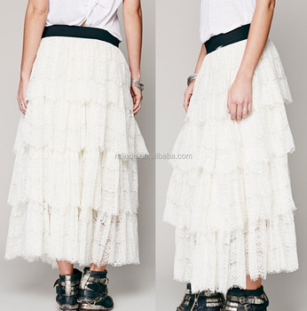 Tiered eyelash lace maxi skirt with wide elastic waistband