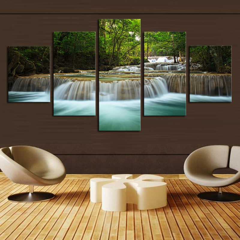 Hd Canvas Prints Picture Spa Nail Salon Store Decor Wall: 5 Panel Waterfall Painting Canvas Wall Art Picture Home