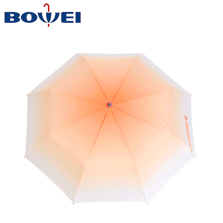 2020 trendy Windproof custom folding beautiful fading color pink blue orange ins style automatic pongee umbrella