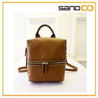Hot Design Brown Leather Backpack With Light Weight For Soldier