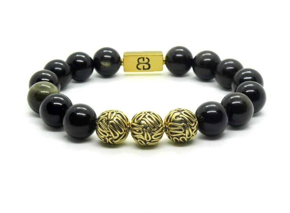 590ca1d4c Get Quotations · Golden Shimmer Obsidian and Antique 22 Karat Gold Beads  Bracelet, Men's Obsidian Bracelet