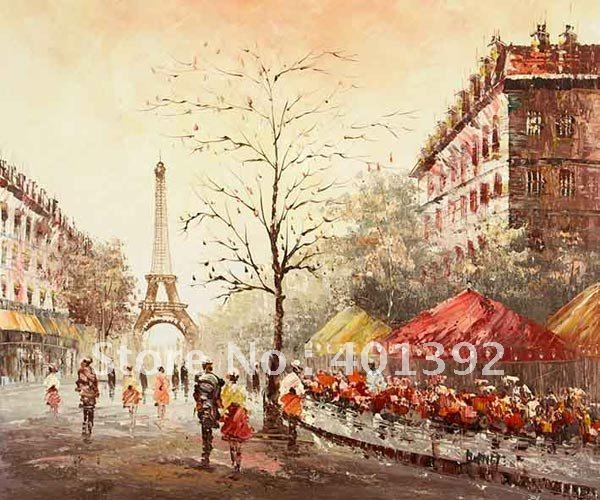 YY0243 EUROPEAN PARIS STREET SCENE CITYSCAPE OIL PAINTING ... - photo#27
