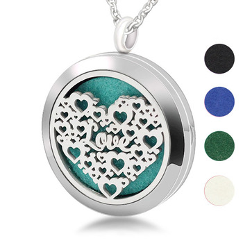 316L Stainless Steel Hollow Heart  Aromatherapy Essential Oil Diffuser Necklace