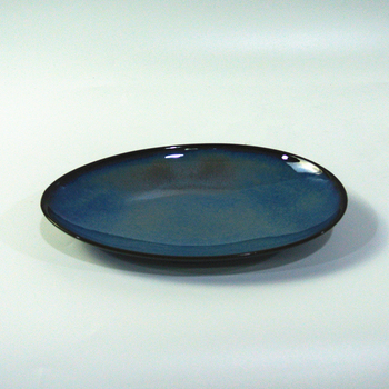 Hotel dinnerware blue black oval decorative cheap porcelain salad bowl