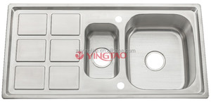 UK Sink Stainless Steel 1.5 Bowl Reversible 1000*500mm CE