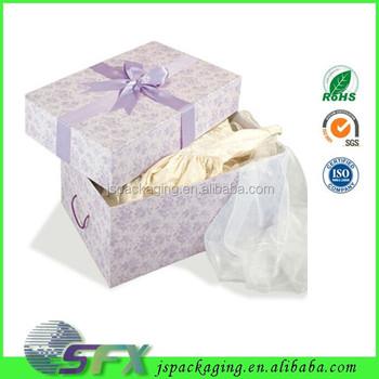 Beautiful Kraft Paper Cloth Packaging Bridal Veil Gift Box Storage Wedding Dress