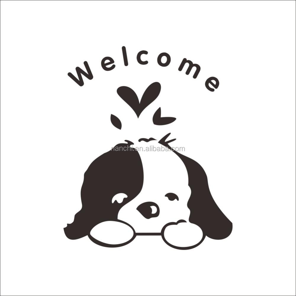 Yang Lucu Anjing Wel E Hotel Toilet Kamar Mandi Rumah Decal Stiker Dinding Dekorasi Pernikahan Kaca Jendela Dekorasi Wallpaper Zy348 Buy Yang Lucu