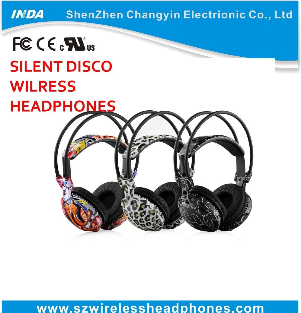 Fashionable Silent Disco Headphones 3 Channel - RF Wireless For iPod MP3 DJ Music