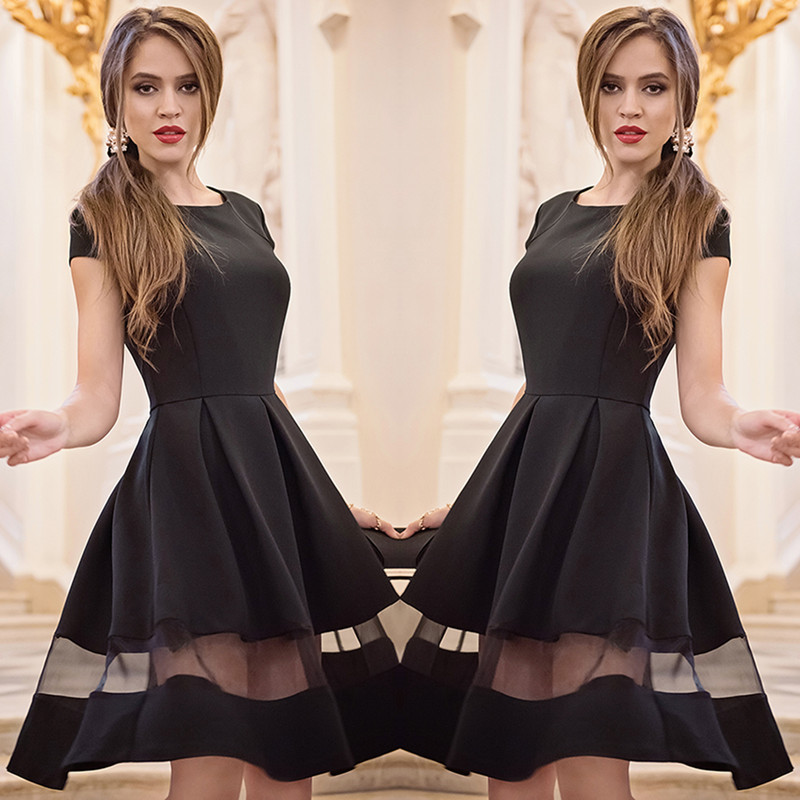 2016 Wholesale Fashion Casual Black O-neck A-line Short Sleeve Long Chiffon Women Dresses