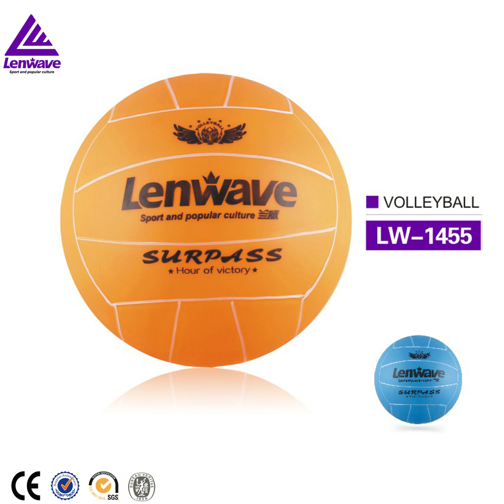 Low price <strong>orange</strong> and blue plush bounce standard size beach volleyball