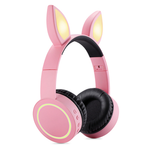 new model LED headphones color change foldable anime bluetooths cat ear headphones