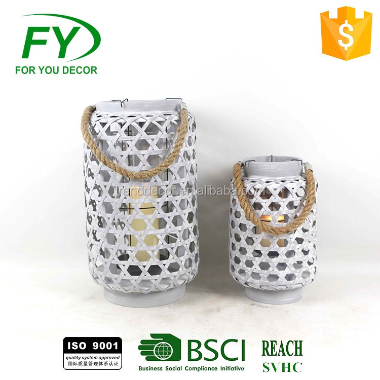 Chinese wholesale round white metal lifestyle lantern with plastic LED bulb inside for garden decoration