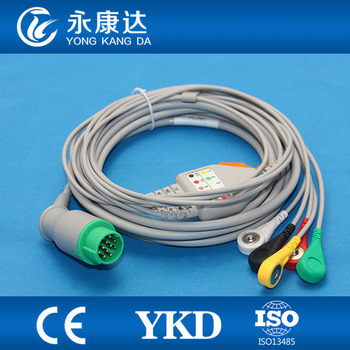 5-lead ECG cable with 12pin and IEC snap for Schiller patient monitor with CE&ISO13485 proved