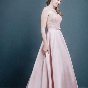 Ball Gown Sweetheart Bowknot Lace Zipper Back Satin Floor-Length Prom Dress