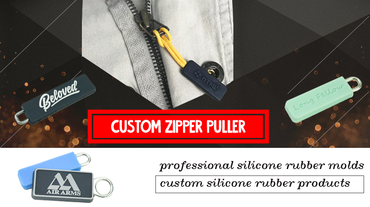 custom cool personalized brass rubber zipper pullers