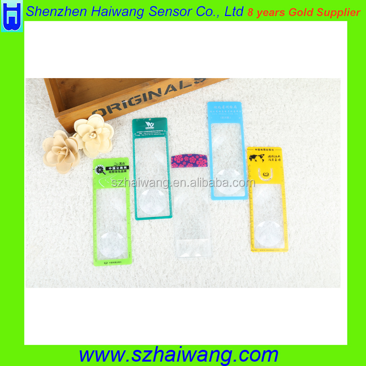 Customized logo 187*65mm 3x 6x PVC Magnifier Bookmark PVC pocket bookmark magnifying glass