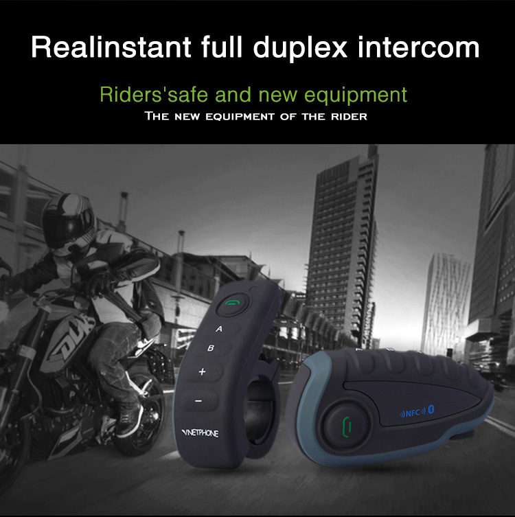 High-end 1200 meters Bluetooth Handsfree Moto Intercom Safety Interphone for helmet