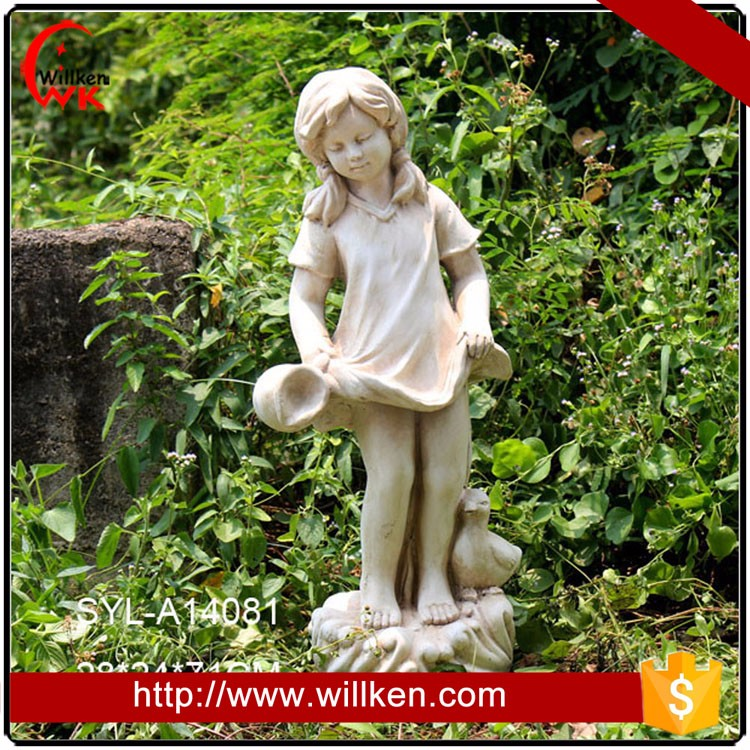 Outdoor decoration girl holding dress garden statues