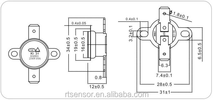 10a 250v 135 celsius normal closed ceramic thermostat ksd301 ksd302 for microwave oven