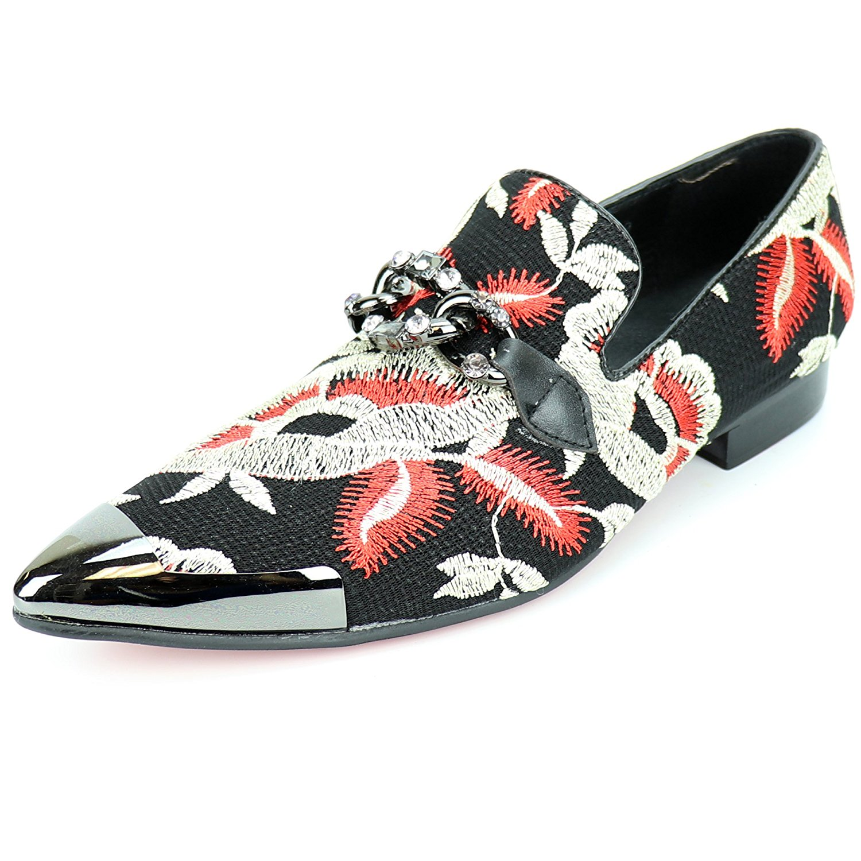 736380a62b6 Get Quotations · Fiesso by Aurelio Garcia FI-7253 Black Multi Color Slip on  Loafer - European Shoe