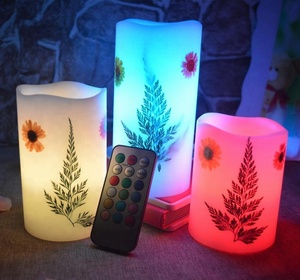 Fathers Day Gifts Real Paraffin Wax Flameless Flower Pattern Led Candle Light With 18 Multi-color Remote