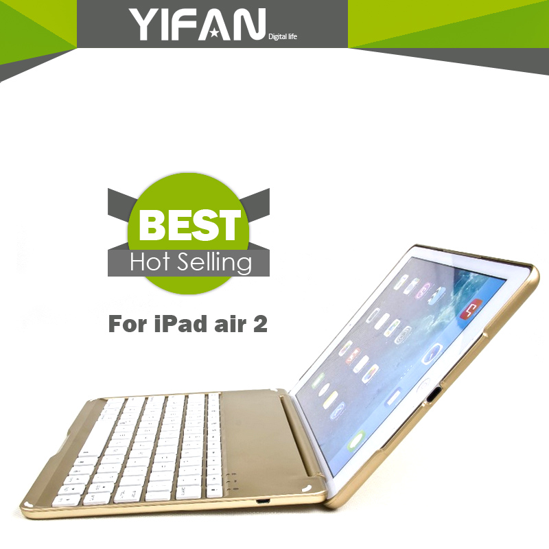 Luxury Notebook Style ABS Wireless Bluetooth For iPad Air 2 7 Colors LED Backlit Aluminum Tablet