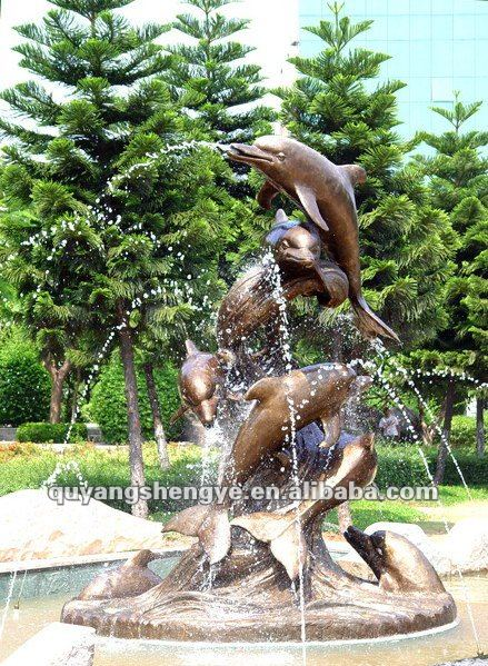 dancing dolphin water fountain for garden designs