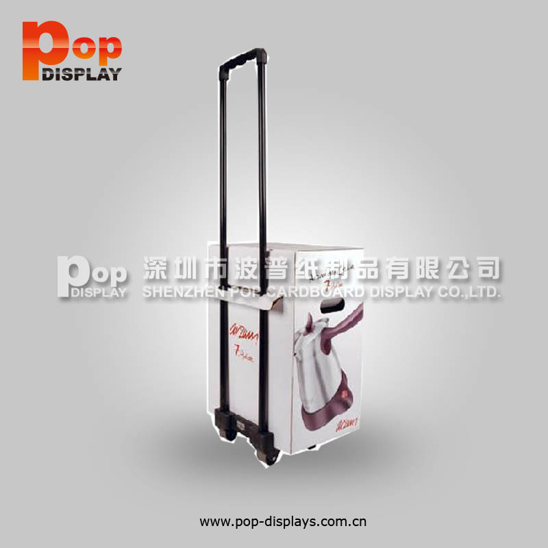 B flute colorful printed exhibition cardboard box trolley with wheels