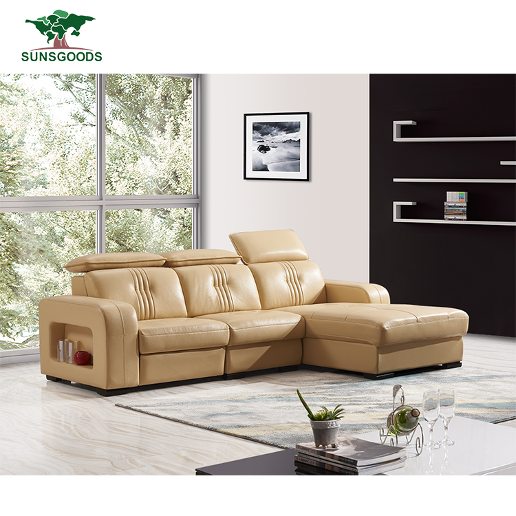 High Quality Commercial Long Leather Corner Sofa Large Corner Chaise