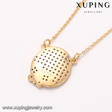 41893 xuping trendy new models 18k gold plated round pendant necklace import jewelry from China