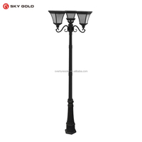 Traditional victorian style 2.35m Black 3 Way IP44 outdoor garden lamp post light