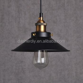 Black Metal Loft Hanging Pendant Lamp Fix Ceiling Light Flat Shade Nordic
