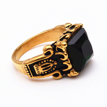 Vintage Gemstone Stainless Steel Gold Ring Black Stone Ring For