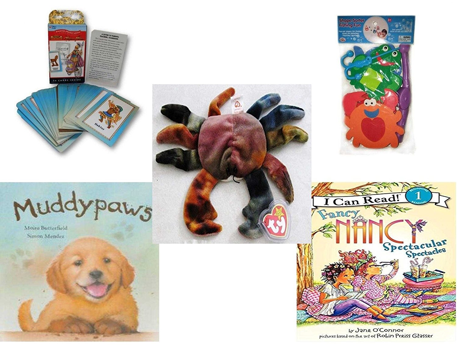 Children's Gift Bundle - Ages 3-5 [5 Piece] - Discover Ancient Greece Riddle Me Playing Card Game - Shape Sorter Fishing Fun Bath Toy - Ty Teenie Beanie Baby - Claude the Crab - Muddypaws Hardcover