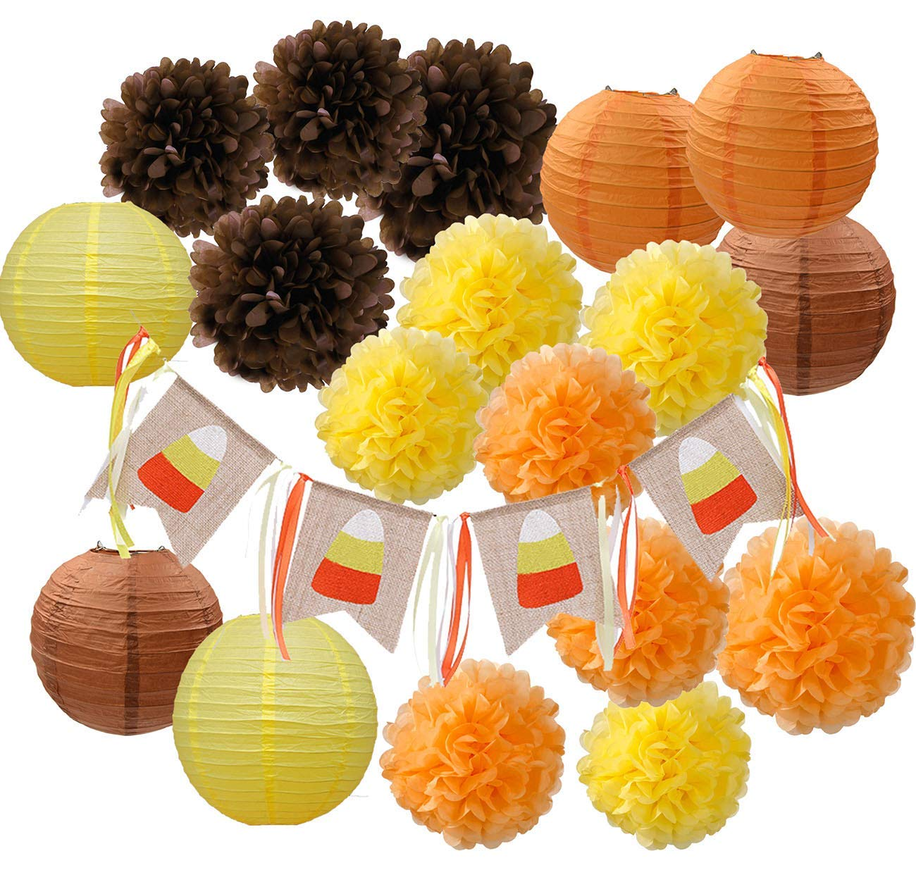 Furuix Fall Party Decorations, Autumn Decorations,Fall Banner,Thanksgiving Party Decorations, Orange Party Kit Thanksgiving Party Decorations/Birthday Party Decorations