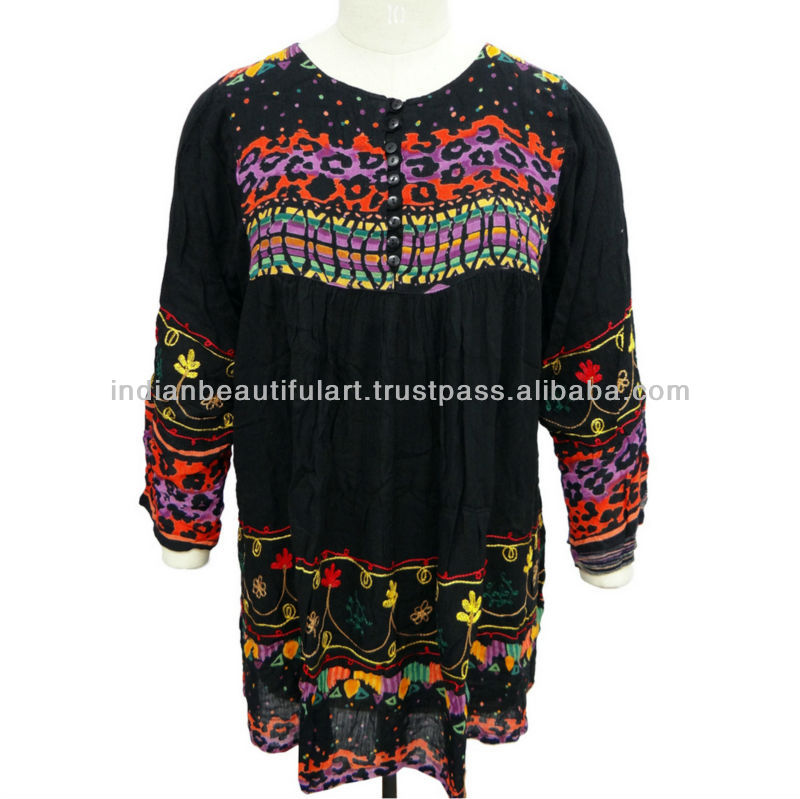 SUMMER WOMEN TOP EMBROIDERED BLACK KURTI UMBRELLA RAYON INDIAN TUNIC