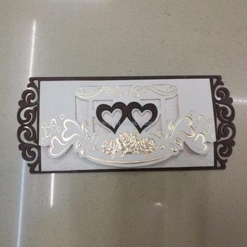 Wooden wedding invitation double heart, high quality wooden invitation cards