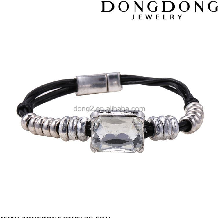 Newest selling special design birthday gift for lover kids charm magnetic clasp leather rope bracelet
