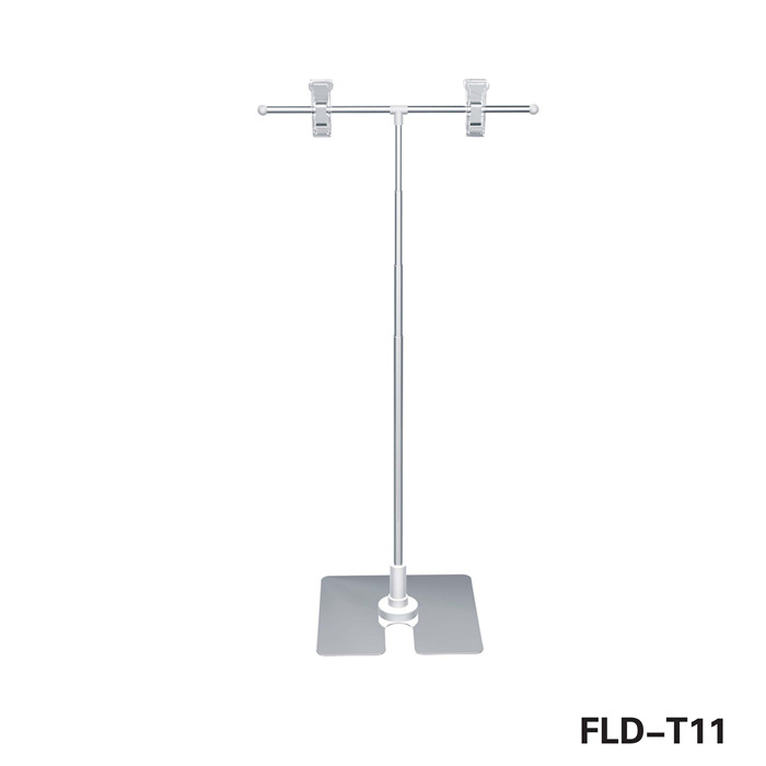 Supermarket T shaped height adjustable advertsing tabletop metal display stand