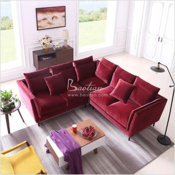 Modern Living Room L Shaped Goose Down Velvet Sofa Pink Furniture Shape Product On Alibaba