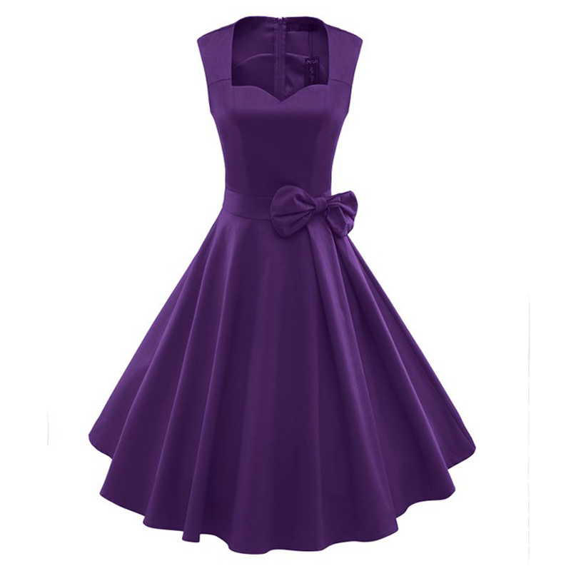 Classy Womens Bow Knot Cute Dress 1940s 1950s 60s Vintage