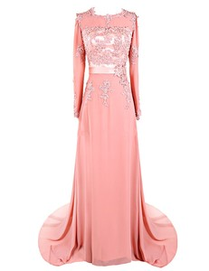 Cheap O Neck A Line Full Sleeve Beaded Appliqued Chiffon Coral Champagne Exotic Evening Gowns
