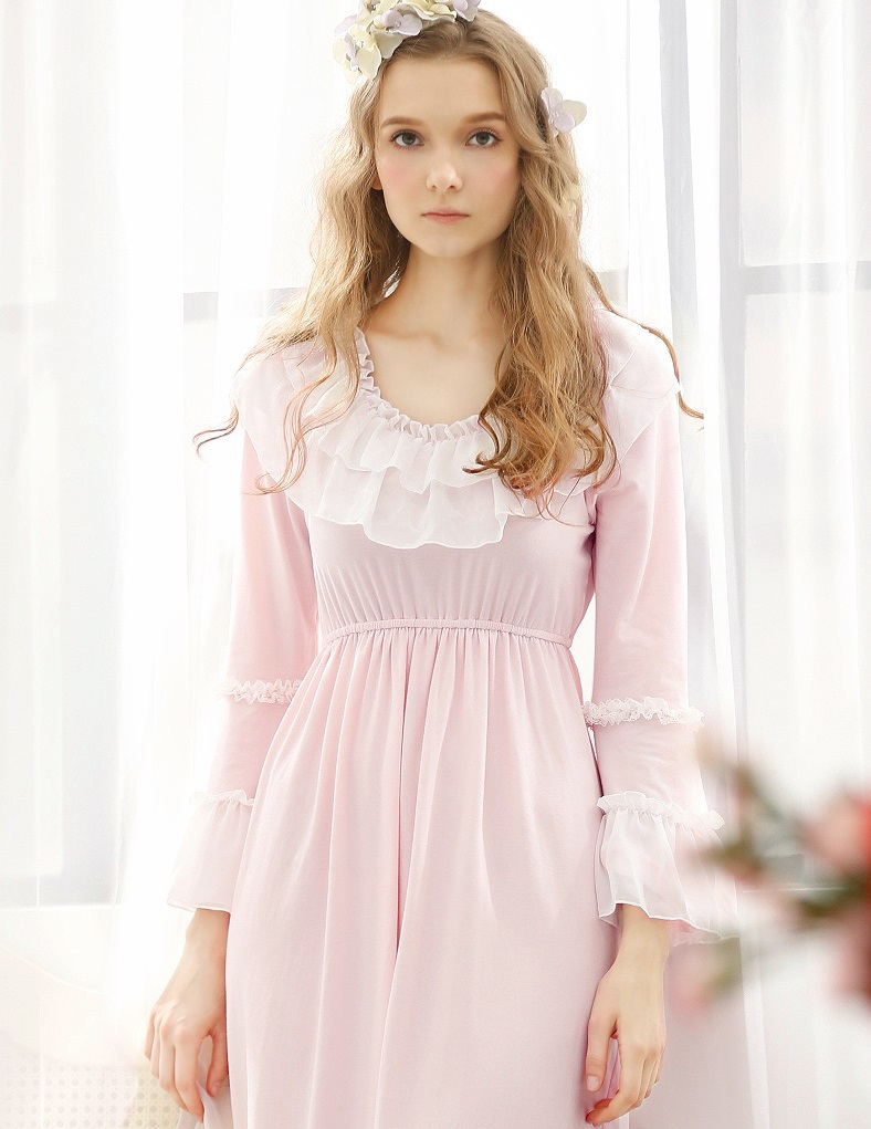18e2ae9e4b Get Quotations · 2015 New Arrival Cotton Women s Nightgowns Top Quality  Light purple   Pink Princess Sleepwear Vintage Pajamas