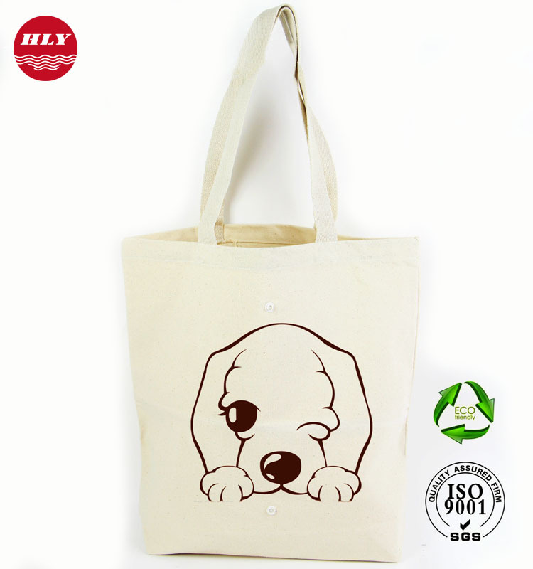 100% Cotton Canvas Folding Bag With Button/ Shopping Bag