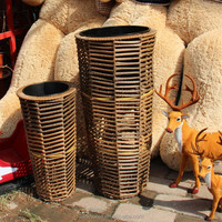 China factory round shape hand weaving PP plastic rattan basket