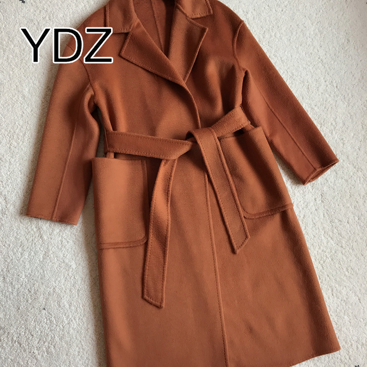 Double-sided long style woman wool coat