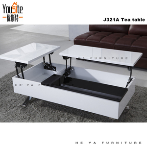 Modern Black And White High Gloss Lift Up Coffee Table