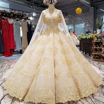Zh3315g Dubai Middle East Luxury Ball Gown Wedding Dresses Gold Lace Liques High Neck Beading Sweetheart